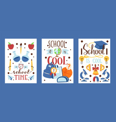 backpack stationary set cards posters vector image