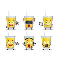 banana juice cartoon character are playing games vector image