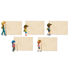 Banner templates with kids and hiking stick vector