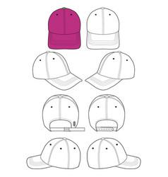Baseball cap set fashion flat technical drawing ve vector
