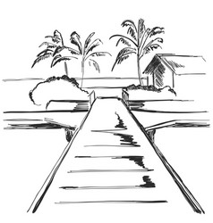 Beach resort area with traffic footpath landscape vector