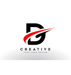 Black and red creative d letter logo design with vector