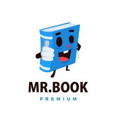 book thump up mascot character logo icon vector image