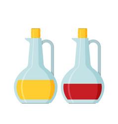 Bottle of olive oil and vinegar flat vector