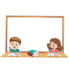 Boy and girl studying with wihteboard copyspace vector
