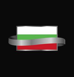 bulgaria flag ribbon banner design vector image
