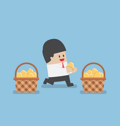 Businessman put golden egg in different basket vector