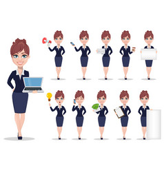 businesswoman cartoon character set vector image