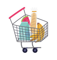 Buy products in cart food delivery in grocery vector