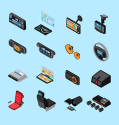 Car electronics icons set vector