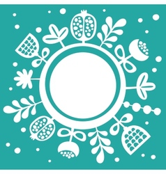 Card with round banner and floral background vector