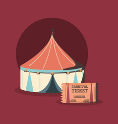 carnival circus tent and ticket show retro vector image