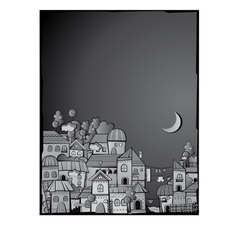 cartoon construction night town vector image