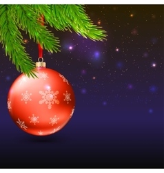 Christmas balls green fir branches and bright vector