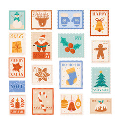 christmas holiday postage stamps postcard vector image