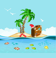 christmas on a tropical island travel concept vector image