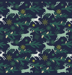 christmas seamless pattern deers pine tree twigs vector image