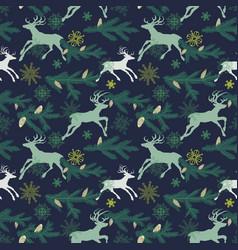 Christmas seamless pattern deers pine tree twigs vector