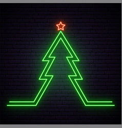 christmas tree neon sign bright signboard with vector image