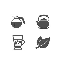 Coffeepot frappe and teapot icons mint leaves vector