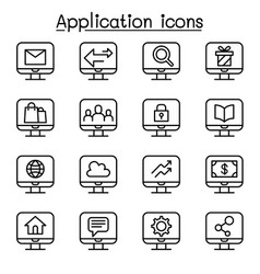 Computer application icon set in thin line style vector