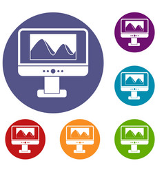computer monitor with photo on screen icons set vector image