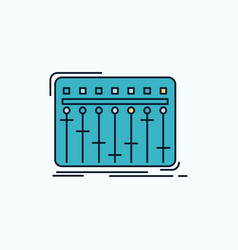 console dj mixer music studio flat icon green and vector image