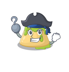 Cool pudding green tea in one hand pirate cartoon vector