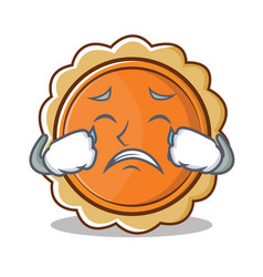 Crying pumpkin pie character cartoon vector