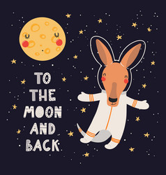 Cute kangaroo astronaut vector