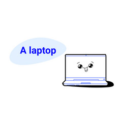 cute laptop cartoon comic character with smiling vector image