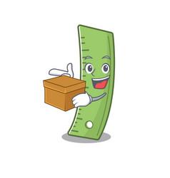 Cute ruler cartoon character having a box vector