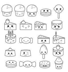 cute sweets and candy cute sweets and candy vector image