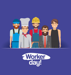 Dark blue card with group of male workers on vector