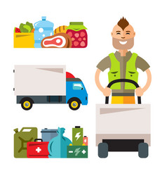 Delivery service flat style colorful vector