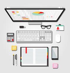 desktop workspace graphic vector image