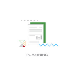 document with data chart financial planning vector image
