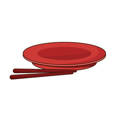 Drawn plate and chopsticks food chinese vector