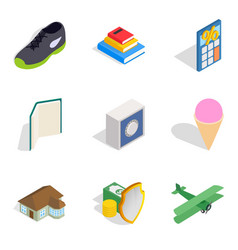 Enterprise icons set isometric style vector