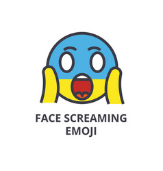 face screaming emoji line icon sign vector image