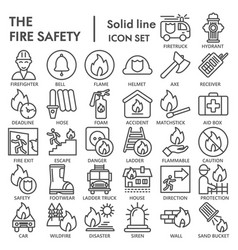 fire safety line icon set emergency symbols vector image