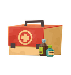 first aid kit with tablet bottles isolated on vector image