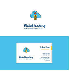 flat cloud network logo and visiting card vector image