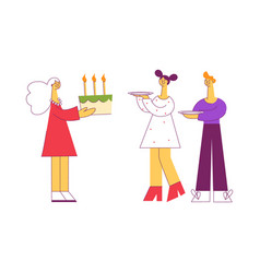 flat people at birthday party celebrating vector image