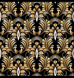 Floral greek style gold paisley seamless pattern vector