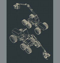 Forest harvester machine isometric drawings vector