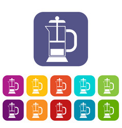 french press coffee maker icons set vector image