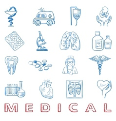 hand draw doodle Health care and medicine icon vector image