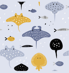 Hand drawn seamless pattern with fish vector
