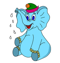 Happy blue elephant vector